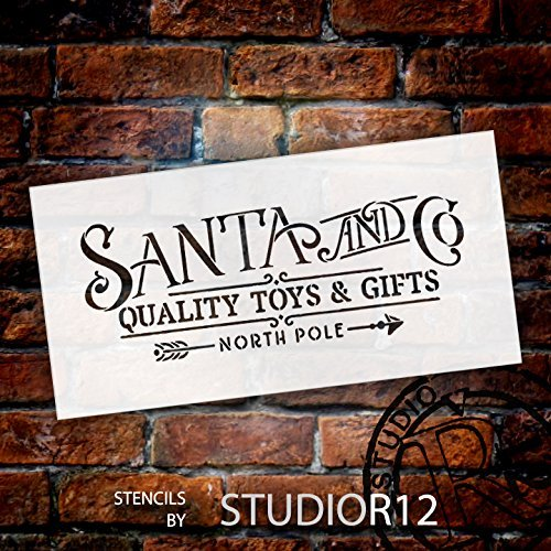 "Santa and Co. Word Stencil by StudioR12 | Reusable Mylar Template | Painting, Chalk, Mixed Media | Use for Holiday and Christmas Wall Art, DIY Home Decor - CHOOSE SIZE (18"" x 9"")"