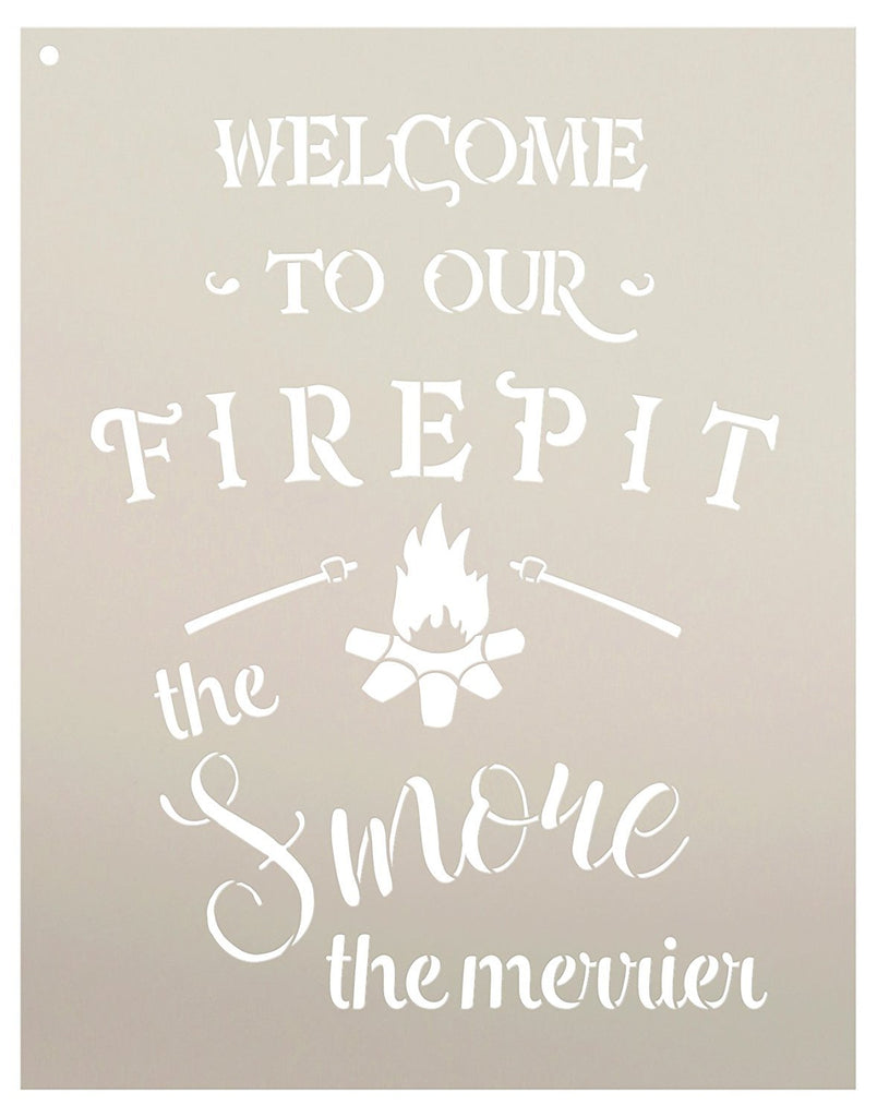 Autumn,   			                 Cabin,   			                 Camp,   			                 Camping,   			                 Campsite,   			                 Country,   			                 Deck,   			                 Fall,   			                 Farmhouse,   			                 Firepit,   			                 Home Decor,   			                 Patio,   			                 Porch,   			                 Stencils,   			                 Studio R 12,   			                 StudioR12,   			                 StudioR12 Stencil,   			                 Template,   			                 Thanksgiving,   			                 Welcome,   			                 Welcome Sign,