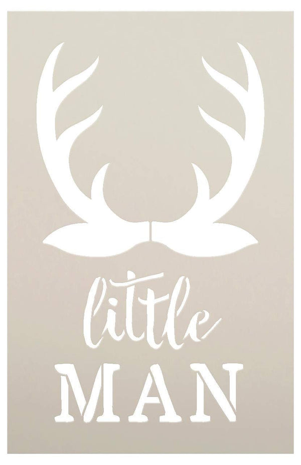Little Man - Antlers - Word Art Stencil - STCL1757 - by StudioR12