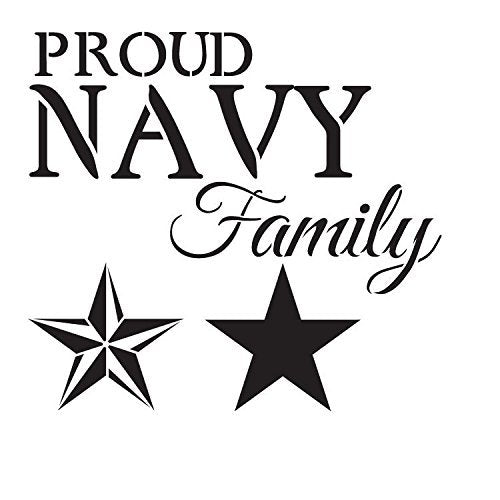 "Proud Navy Family - Word Art Stencil - 14"" x 14"" - STCL1244_2 by StudioR12"