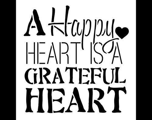 A Happy Heart Word Stencil by StudioR12 | Fun Thankful Word Art - X-Large 19.5 x 19.5-inch Reusable Mylar Template | Painting, Chalk, Mixed Media | Use for Wall Art, DIY Home Decor - STCL699_4