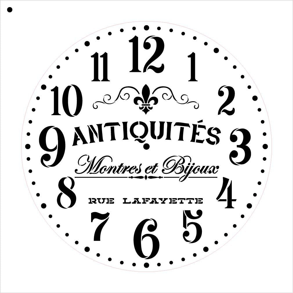 "Provincial Round Clock Stencil - French Antique Words - DIY Paint Wood Clock Small to Extra Large Farmhouse Country Home Decor - Select Size (22"" (2 Parts))"