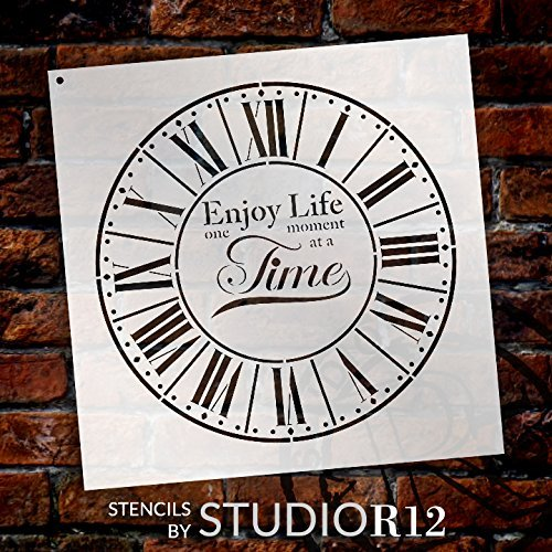 Round Clock Stencil - Parisian Roman Numerals - Enjoy Life One Moment at a Time Letters - DIY Paint Wood Clock Home Decor - Select Size | STCL2437