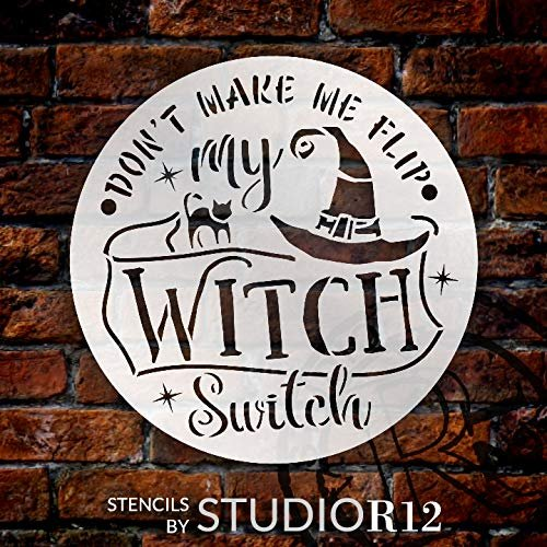 Flip My Witch Switch Stencil with Cat & Hat by StudioR12 | DIY Halloween Home Decor | Craft & Paint | Reusable Template | Select Size | STCL3461