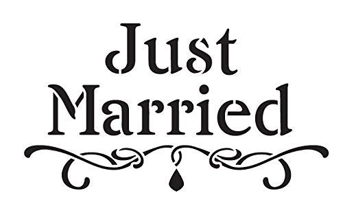 Just Married Stencil by StudioR12 | Embellished Wedding Word Art - Medium 11 x 7.5-inch Reusable Mylar Template | Painting, Chalk, Mixed Media | Use for Crafting, DIY Home Decor - STCL1173_2