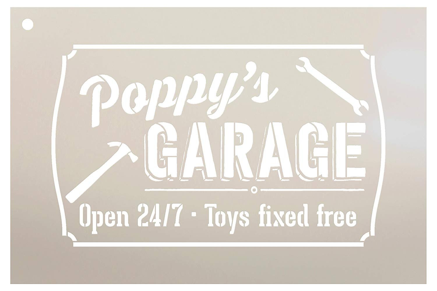 "Poppy's Garage - Open 24/7 Sign Stencil by StudioR12 | Reusable Mylar Template | Use to Paint Wood Signs - Pallets - DIY Grandpa Gift - Select Size (9"" x 6"")"