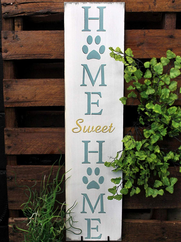 Home Sweet Home - Dog Paw Prints Stencil by StudioR12 | Reusable Mylar Template | Use to Paint Wood Signs - Porch Sign - Welcome - Animal | Select Size | STCL2402