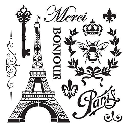 La France Stencil by StudioR12 | Vintage French Travel Art Elements - Large 15 x 15-inch Reusable Mylar Template | Painting, Chalk, Mixed Media | Use for Wall Art, DIY Home Decor - STCL899_2