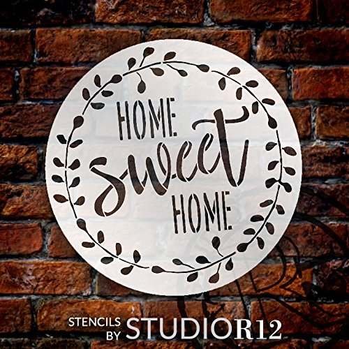 Home Sweet Home Stencil with Laurel Wreath by StudioR12 | Reusable Mylar Template for Painting Wood Signs | Round Design | DIY Home Decor Country Farmhouse Style | Mixed Media | STCL2446 Select Size