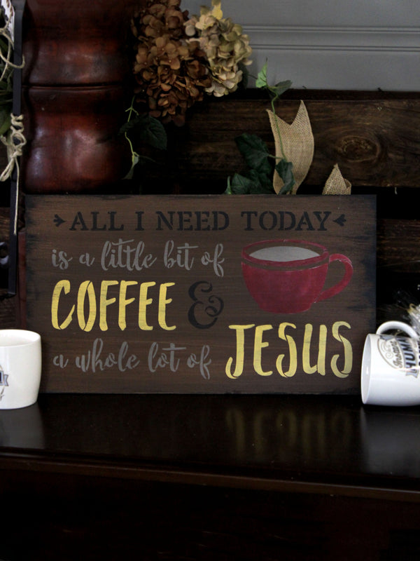 Little Bit Of Coffee Whole Lot Of Jesus - Word Art Stencil by StudioR12