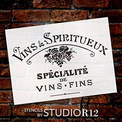 Vintage French Fine Wine Stencil with Grapes by StudioR12 | DIY Old French Ephemera Home Decor & Furniture | Vins Fins Kitchen & Bar Word Art | Paint Wood Signs | Mylar Template | Size (15 x 11 inch) | STCL3248