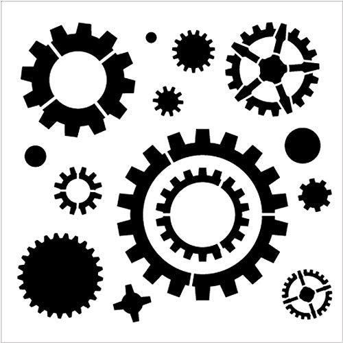 Industrial Gears Pattern Stencil by StudioR12 | Reusable Mylar Template | Use to Paint Wood Signs - Pallets - Pillows - DIY Steampunk Decor - Select Size