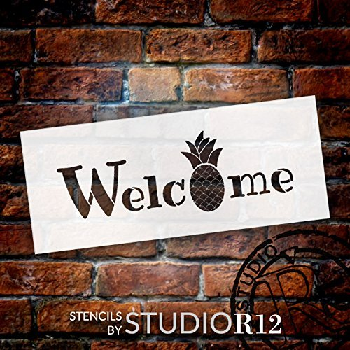 "Welcome - Pineapple - Word Stencil - 24"" x 10"" - STCL2071_4 - by StudioR12"