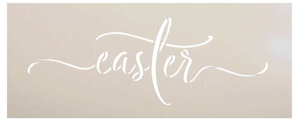 Easter Cursive Script Stencil by StudioR12 | DIY Easy Christian Spring Home Decor | Rustic Word Art | Craft & Paint Farmhouse Wood Signs | Reusable Mylar Template | Select Size