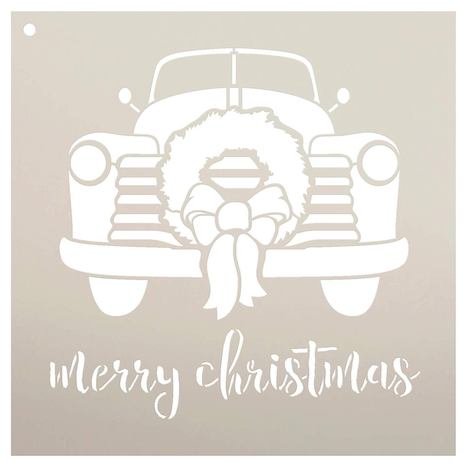 Merry Christmas Truck with Wreath Stencil - by StudioR12 | Reusable Mylar Template | Use to Paint Wood Signs - Pallets - DIY Christmas Season Decor - Select Size