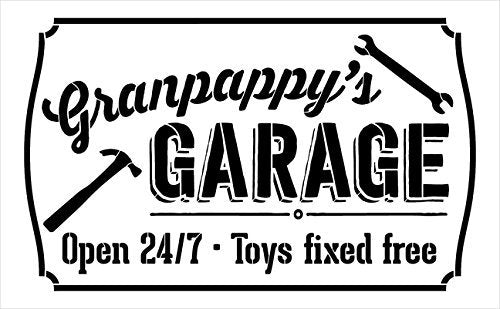 "Granpappy's Gargage - Open 24/7 Sign Stencil by StudioR12 | Reusable Mylar Template | Use to Paint Wood Signs - Pallets - DIY Grandpa Gift - Select Size (16"" x 10"")"