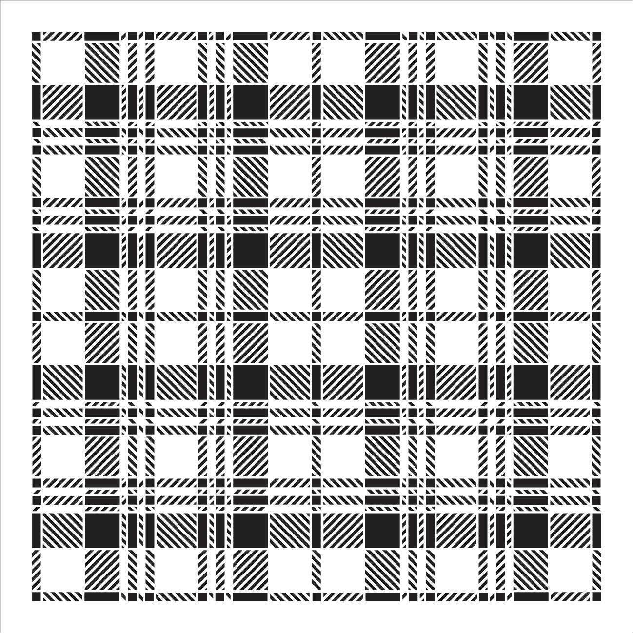 Black Watch Plaid Stencil by StudioR12 | Wood Signs | Word Art Reusable | Family Dining Room | Painting Chalk Mixed Multi-Media | DIY Home - Choose Size