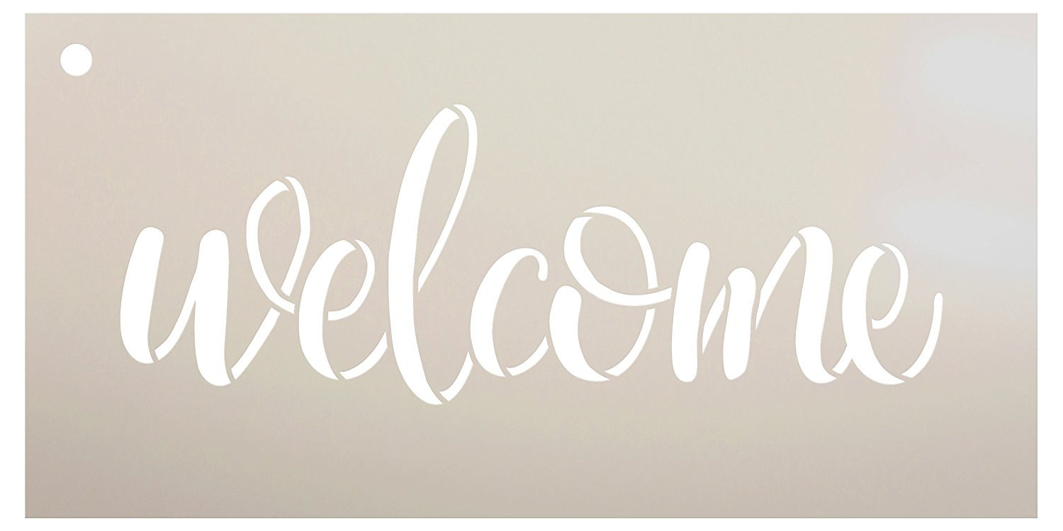 "Welcome Sign Stencil by StudioR12 - Reusable, Paint Front Porch Sign, DIY Decor, New Home Gift, Barn Wood, Word Art - STCL1493 - SELECT SIZE (14"" x 6"")"
