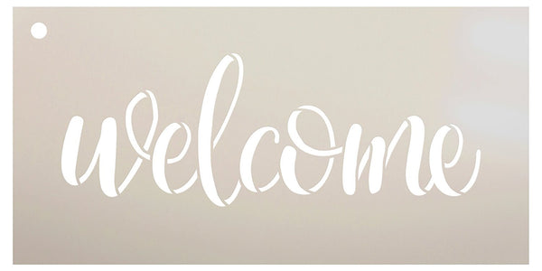 Welcome Sign Stencil by StudioR12 - Reusable, Paint Front Porch Sign, DIY Decor, New Home Gift, Barn Wood, Word Art | SELECT SIZE | STCL1493