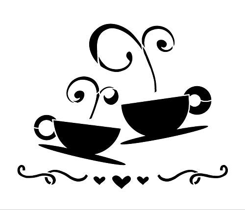 Tea Coffee Love Stencil by StudioR12 | Fancy Cafe Art - Medium 11 x 9-inch Reusable Mylar Template | Painting, Chalk, Mixed Media | Use for Crafting, DIY Home Decor - STCL830_2