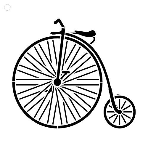 Big Wheel Bicycle Stencil by StudioR12 | Fun Vintage Art - Large 15 x 15-inch Reusable Mylar Template | Painting, Chalk, Mixed Media | Use for Wall Art, DIY Home Decor - STCL1109_4