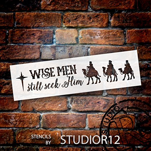 Wise Men Still Seek Him Stencil by StudioR12 | Christmas Camels Word Art - Medium 18 x 5-inch Reusable Mylar Template | Painting, Chalk, Mixed Media | Use for Crafting, DIY Home Decor - STCL1541_1