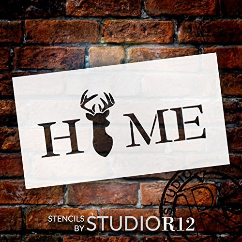 "Home - Deer - Word Art Stencil - 16"" x 8"" - STCL2157_2 - by StudioR12"