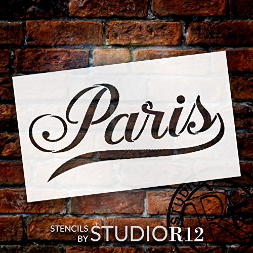 Paris Stencil by StudioR12 | Elegant Script French Word Art - Mini 7 x 4-inch Reusable Mylar Template | Painting, Chalk, Mixed Media | Use for Journaling, DIY Home Decor - STCL1457_1