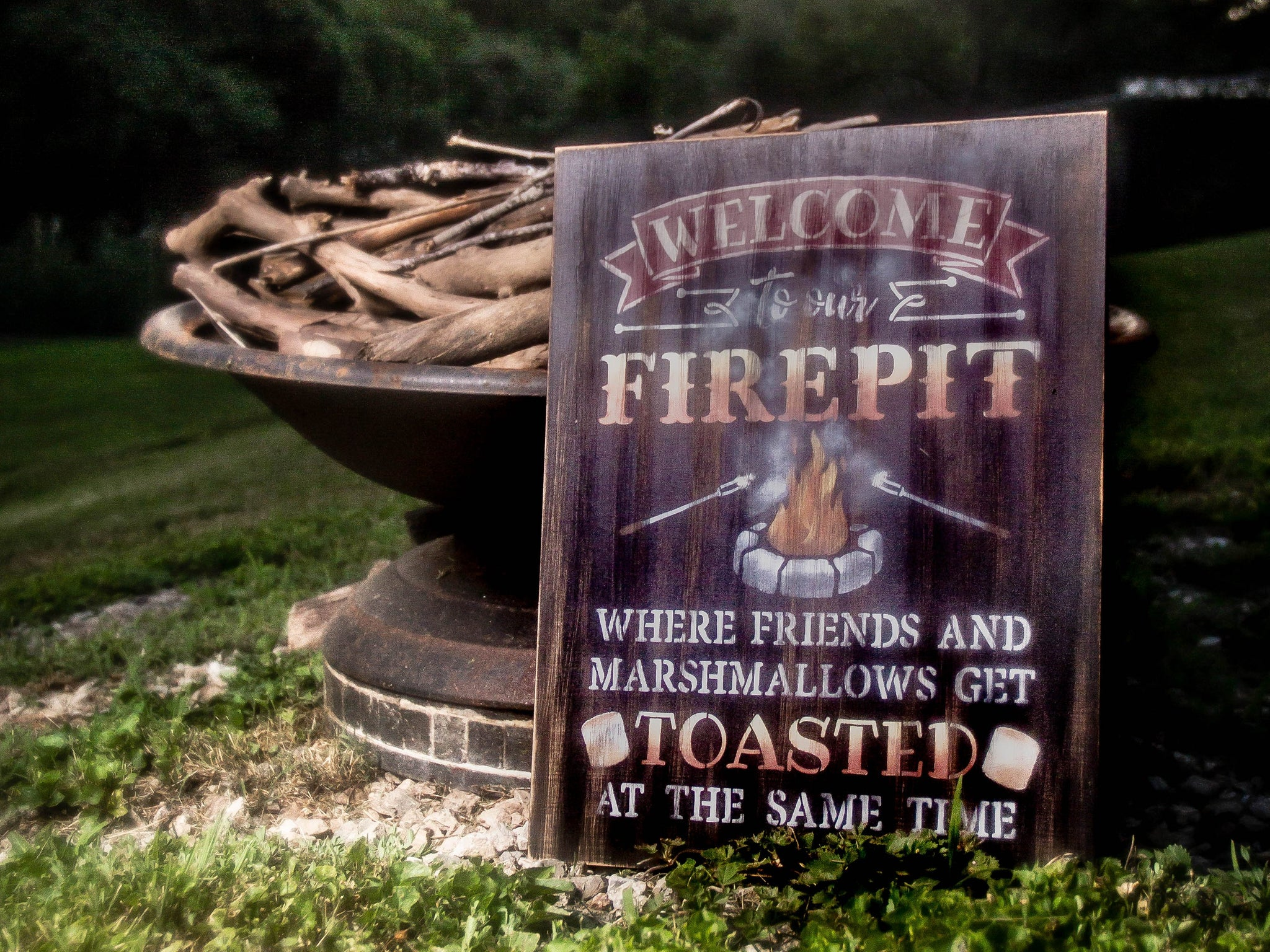 Welcome To Our Firepit Stencil by StudioR12 | Rustic and Fun - Reusable Mylar Template | Painting, Chalk, Mixed Media | Crafting, DIY Home Decor