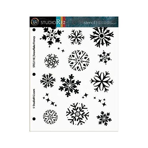 Snowflake Stencil by StudioR12 | Winter Snow Frenzy Art - Medium 8.5 x 11-inch Reusable Mylar Template | Painting, Chalk, Mixed Media | Use for Crafting, DIY Home Decor - STCL110_1