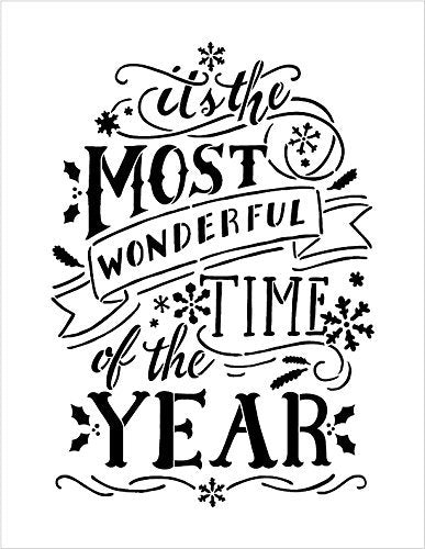"Most Wonderful Time Of The Year Stencil by StudioR12 | Christmas Word Art - Reusable Mylar Template | Painting, Chalk | Use for Wall Art, Home Decor - STCL1365 SELECT SIZE (8.5 "" x 11"")"