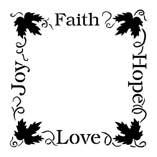 Faith Hope Love Joy Stencil by StudioR12 | Tuscan Grapevine Frame Word Art - Large 13 x 13-inch Reusable Mylar Template | Painting, Chalk, Mixed Media | Use for Wall Art, DIY Home Decor - STCL1036_2