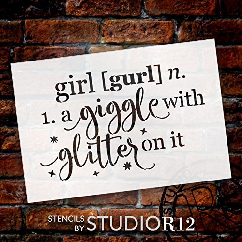 "Girl - Defined - Word Stencil - 13"" x 9"" - STCL1868_2 - by StudioR12"