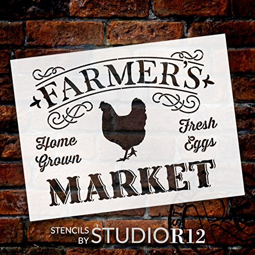 "Farmer's Market - Word Art Stencil - 25"" x 20"" - STCL1971_3 - by StudioR12"