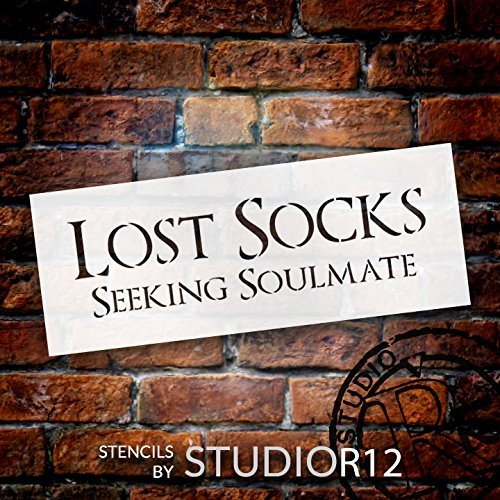 "Lost Socks Seeking Soulmate - Word Stencil - 19"" x 7"" - STCL1853_3 - by StudioR12"
