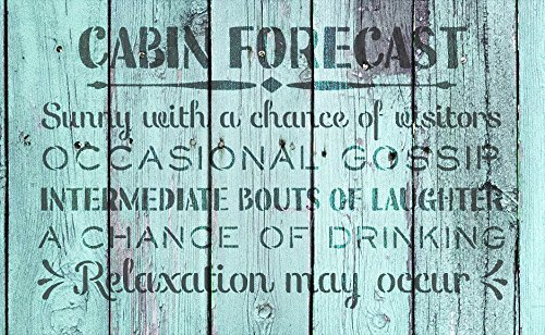 Cabin Forecast - Sunny with a Chance of Visitors Stencil by StudioR12 | Reusable Mylar Template | Use to Paint Wood Signs - Front Door - Entry - Porch - DIY Summer Decor - Select Size (20