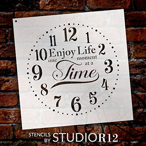 "Provincial Round Clock Stencil - Enjoy Life One Moment at a Time Letters - DIY Paint Wood Clock Farmhouse Country Home Decor - Select Size (24"" (2 Parts))"