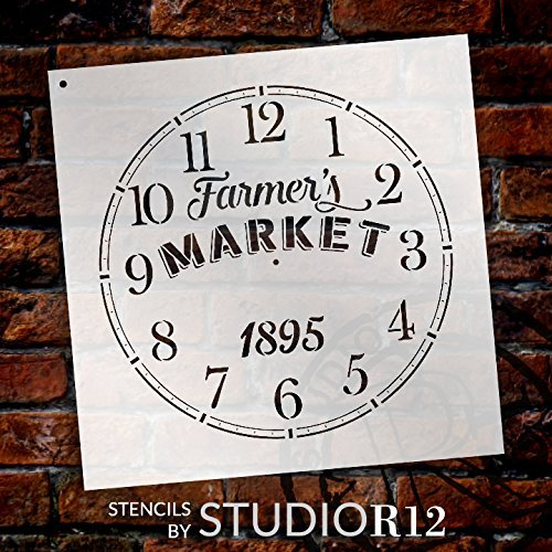 Round Clock Stencil - Farmers Market Words - Small to Extra Large DIY Painting on Wood for Farmhouse Country Home Decor Walls - Select Size (18