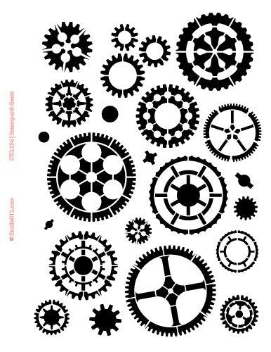 Gears Stencil by StudioR12 | Steampunk Art - Medium 8.5x11-inch Reusable Mylar Template | Painting, Chalk, Mixed Media | Use for Crafting, DIY Home Decor - STCL155_1