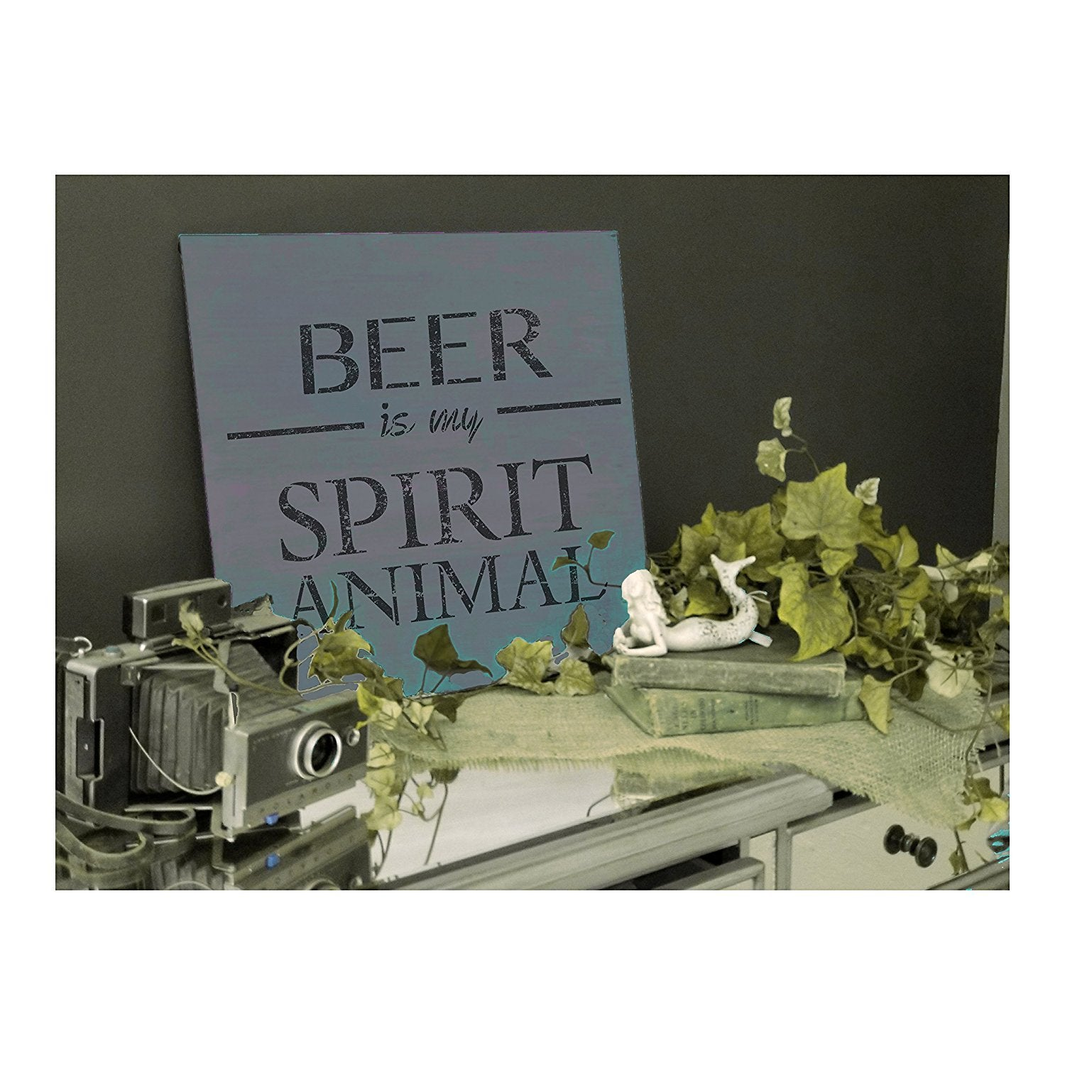 Beer Is My Spirit Animal Stencil by StudioR12 | Bar, Pub, Man Cave Word Art - Reusable Mylar Template | Painting, Chalk, Mixed Media | Use for Wood Sign, Wall Art, DIY Home Decor SELECT SIZE