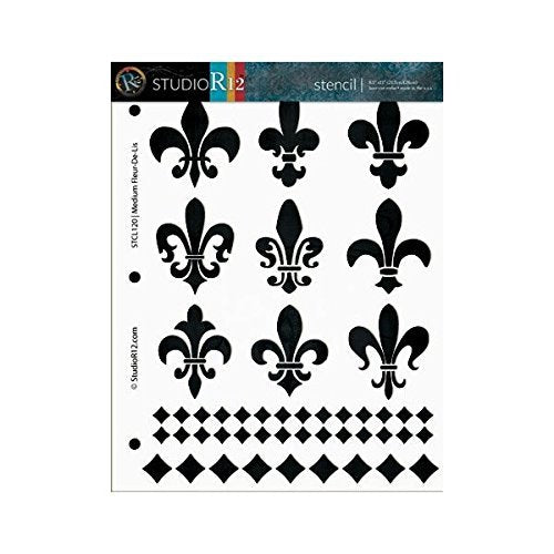 Fleur de Lis Stencil by StudioR12 | French Pattern Element Art - Medium 8.5 x 11-inch Reusable Mylar Template | Painting, Chalk, Mixed Media | Use for Crafting, DIY Home Decor - STCL120_1