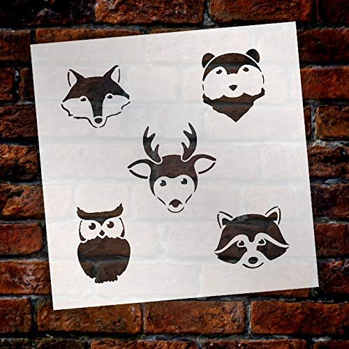 Woodland Animal Faces Stencil by StudioR12 | DIY Nursery | Nature Decor | Animal | Craft Home Decor | Reusable Mylar Template | Paint Wood Sign - Select Size
