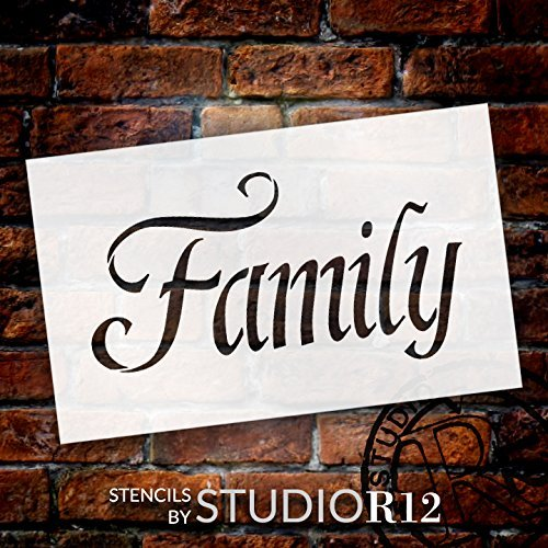 "Family - Fancy - Word Stencil - 13"" x 8"" - STCL2156_1 - by StudioR12"