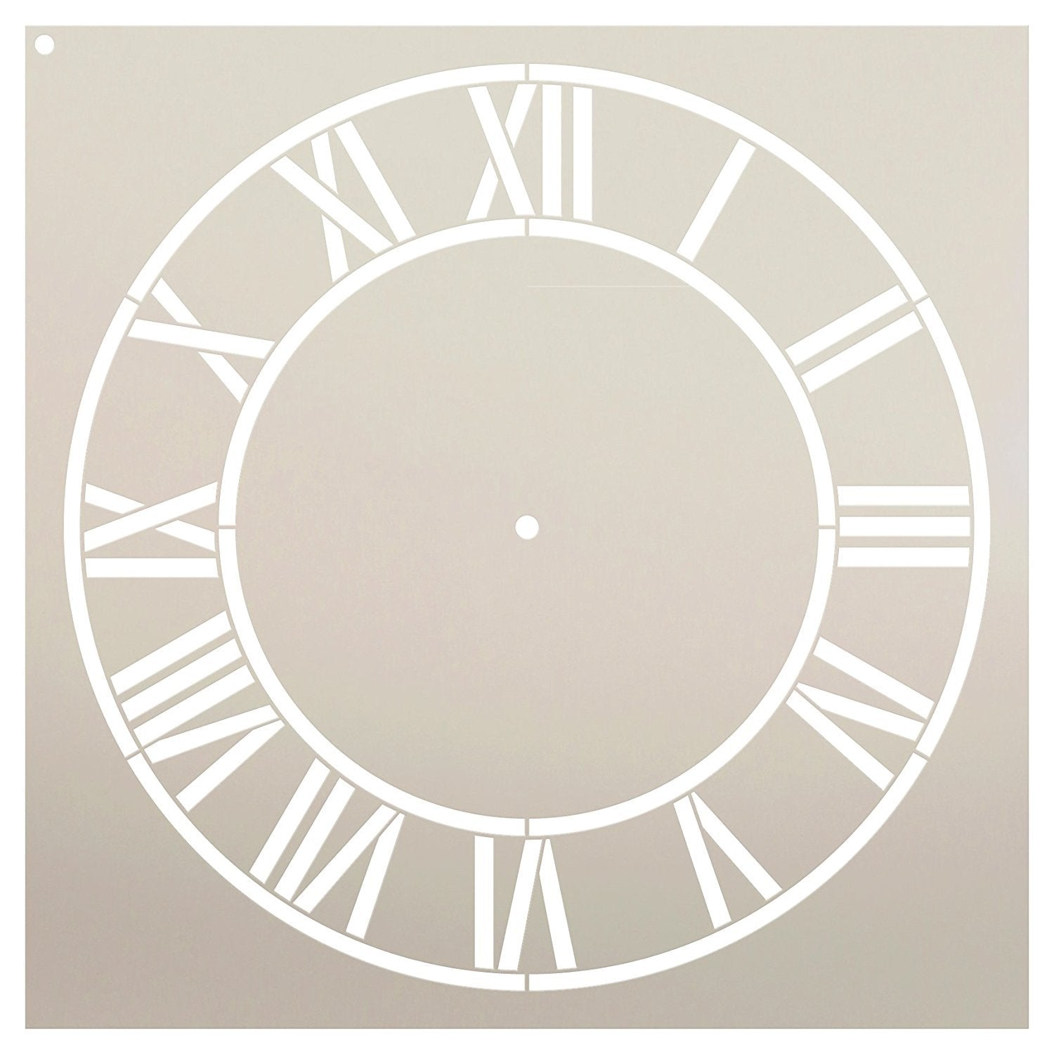 "Country Home Clock Face Stencil by StudioR12 | Roman Numerals Clock Art - Reusable Mylar Template | Painting, Chalk, Mixed Media | DIY Decor - STCL2332 - SELECT SIZE (18"" Diameter)"
