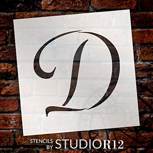 "Graceful Monogram Stencil - D - 10"" - STCL1904_4 - by StudioR12"
