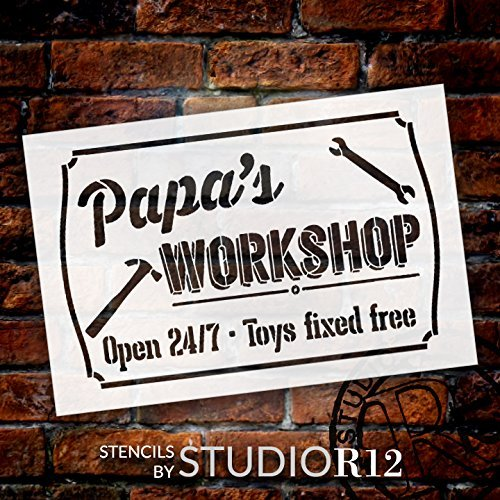 "Papa's Workshop - Open 24/7 Sign Stencil by StudioR12 | Reusable Mylar Template | Use to Paint Wood Signs - Pallets - DIY Grandpa Gift - Select Size (25"" x 16"")"