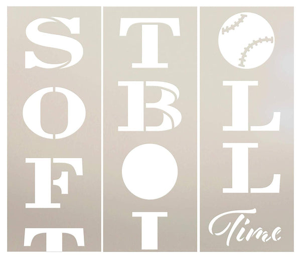 Softball Time Tall Porch Stencil by StudioR12 | 3 Piece | DIY Large Vertical Sports Fan Home Decor | Front Door or Entryway | Craft & Paint Wood Leaner Signs | Reusable Mylar Template | Size 6ft