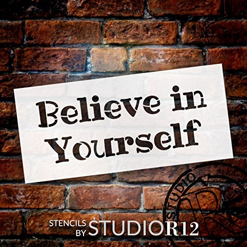 "Believe In Yourself - Fun - Word Stencil - 24"" x 11"" - STCL2094_5 - by StudioR12"