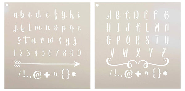Lettering - Upper & Lower Case Stencil - 2 Part by StudioR12 - Sweet Hipster | Reusable Mylar Template | Use to Paint Wood Signs - Pillows - Monogram - DIY Lettering Projects - SELECT SIZE