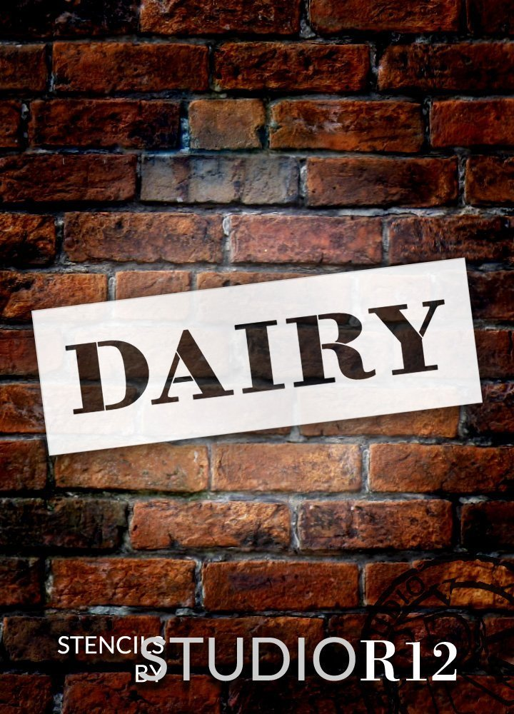 "Dairy - Farmhouse Serif - Word Stencil - 24"" x 7"" - STCL1961_4 - by StudioR12"